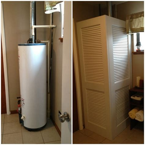 Water Heater In Closet by How To Hide Exposed Water Heater Fix With Louvered Doors Hinged Together Ideas For The