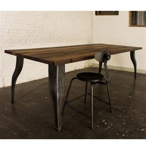 Reclaimed Industrial Dining Table Alec Industrial Reclaimed Wood Cast Iron Dining Table Kathy Kuo Home