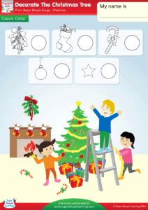 decorate the christmas tree lyrics decorate the christmas tree worksheet count color