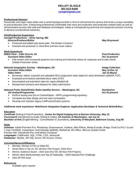 Writer Editor Resume Template by Writer Editor Resume