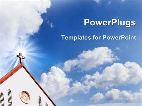 Powerpoint Template Church Cross Steeple With Blue Cloudy Powerplugs Powerpoint