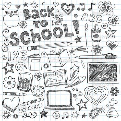 doodle pattern school garabatos dibujados a mano bienvenido de nuevo a escuela