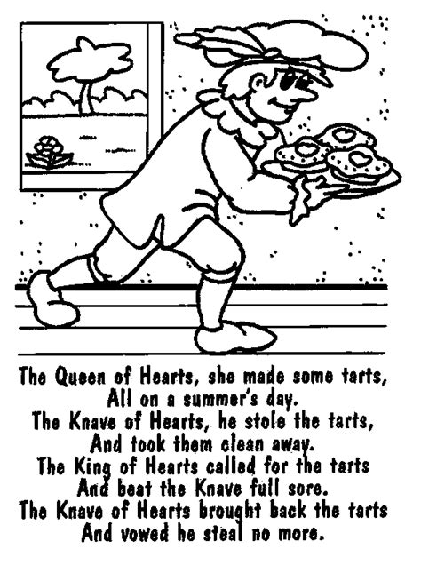 Queen Of Hearts Nursery Rhyme Coloring Page   weekly wonders jls