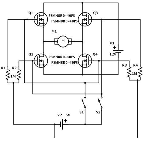 transistor mosfet h bridge mosfet h bridge for a beginner i m missing something but i don t what