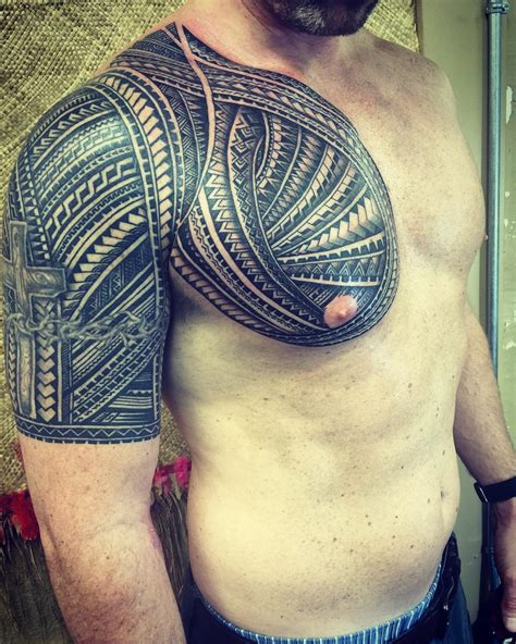 tribal chest and half sleeve tattoo 21 polynesian designs ideas design trends
