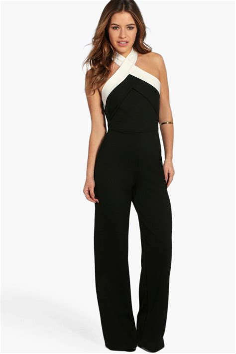 Jump Suit colour block cross front jumpsuit at boohoo