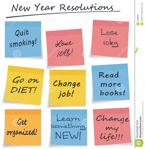 new year notes singapore new year resolutions style sticky notes stock illustration