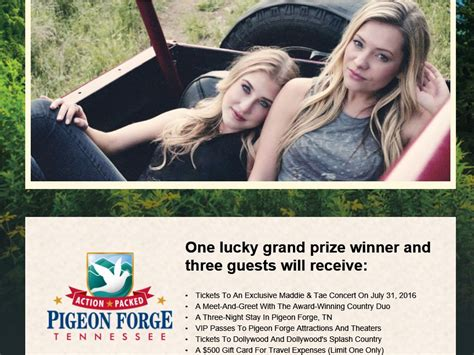 Dollywood Sweepstakes 2016 - the maddie tae pigeon forge gateway sweepstakes