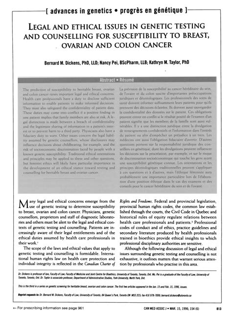 (PDF) Legal and ethical issues in genetic testing and