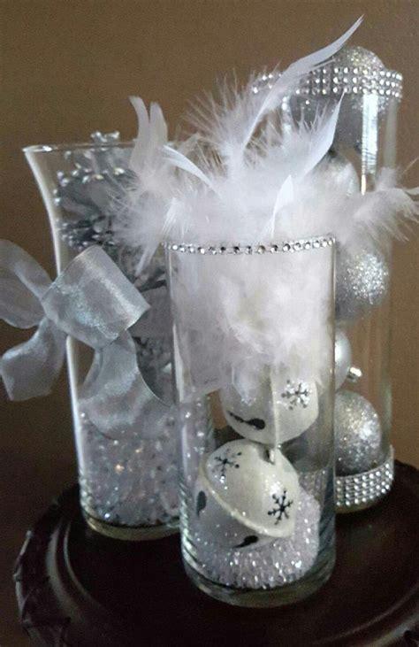 silver table centerpieces winter wedding reception centerpiece decor silver