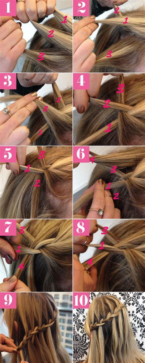 diy pretty waterfall braid hair tutorial pictures