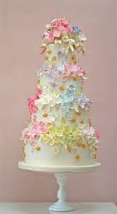 fondant cake ivory wedding cake with cute flowers