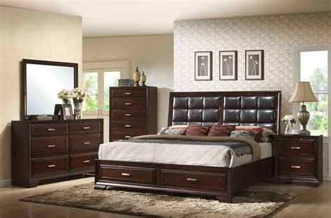 crown mark bedroom furniture crown mark furniture jacob upholstered storage bedroom set in rich brown
