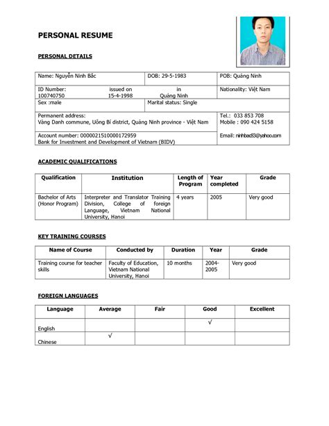 cosy resume sample for personal information for your personal info