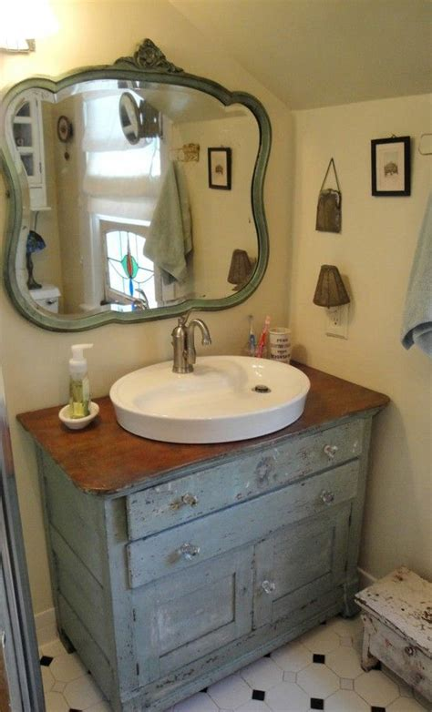Retro Bathroom Furniture Bathroom In Grey Repurposed Dresser Into Vanity And Dresser Mirror Hung On The Wall For A