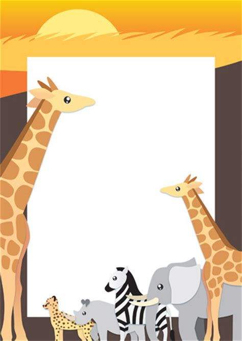 early learning resources safari wildlife page border