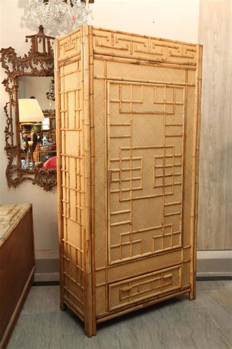 Rattan Armoire by Mid Century Quot South Seas Quot Rattan Armoire For Sale At 1stdibs