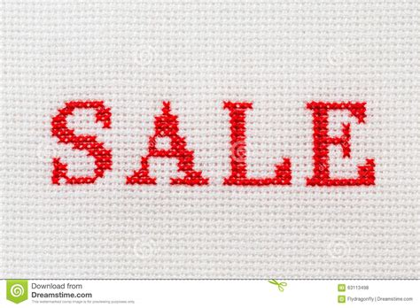 Handmade Sale - embroidery word sale cross stitch stock photo image