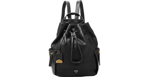 Fossil Drawstring Large Black lyst fossil vickery large drawstring leather backpack in black