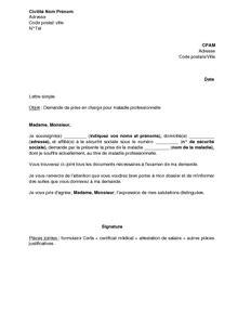 Lettre De Prise En Charge Pour Le Visa Exemple Gratuit De Lettre Demande Prise En Charge Maladie Professionnelle 224 Cpam