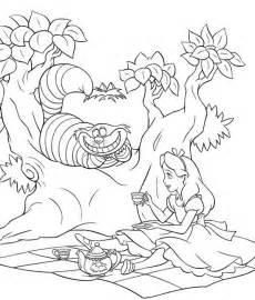 Alice and cheshire cat drink tea in alice in wonderland