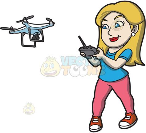 flying with a a hobbyist flying a drone with a remote clipart vector