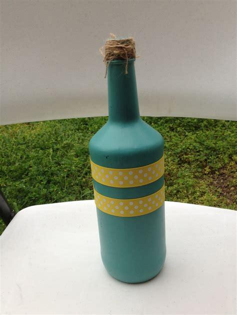spray paint bottle my turquoise yellow wedding decorated wine bottle