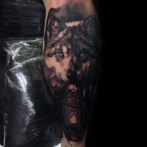 wolf tree tattoo amazing mens forest wolf trees on leg tattoos
