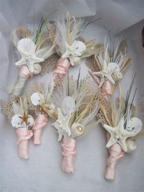 Beach Wedding Boutonniere   Natural Seashell Sea Fan And