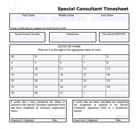 consultant time tracking template 20 consultant timesheet templates free sle exle