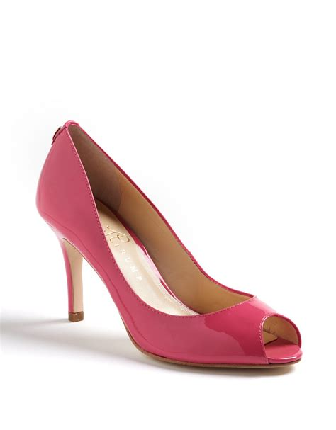 ivanka pink shoes ivanka cleor peep toe pumps in pink pink patent lyst