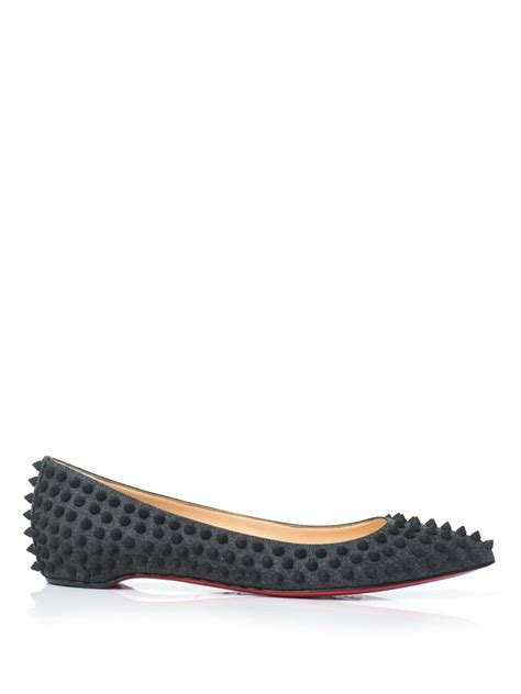 gray flat shoes christian louboutin pigalle spike flat shoes in gray lyst