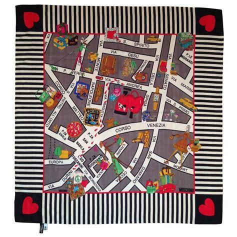 Mochino Maxy 1 1990s Moschino Silk Map Of Milan Scarf At 1stdibs