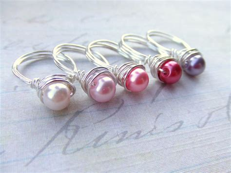 flower pearl rings wire wrap rings toddler rings