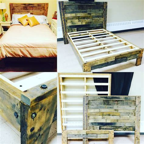 queen size pallet bed plans rustic platform bed with pallet wood headboard footboard