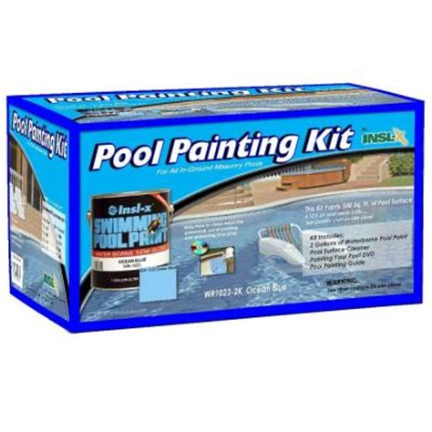 insl x waterborne 1 gal blue swimming pool paint kit with cleaner and dvd