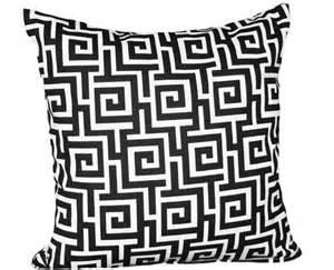 black and white decorative throw pillow modern key