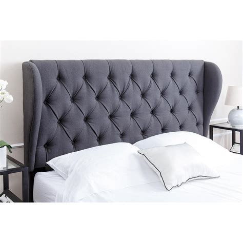 linen wingback headboard abbyson living chambers tufted charcoal linen queen full