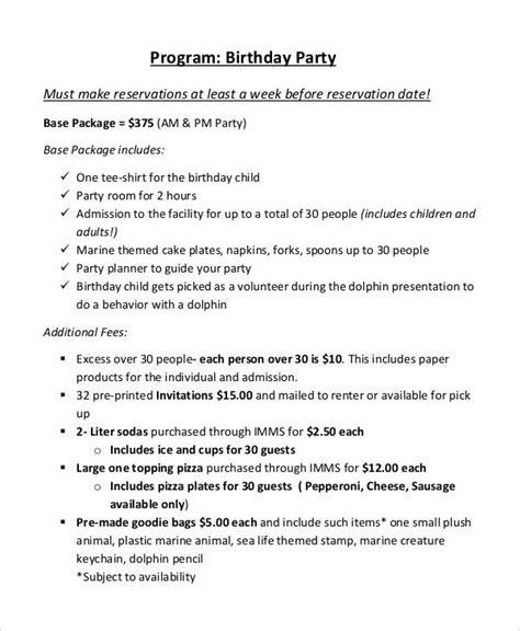 Sle Birthday Party Program Template Impremedia Net Sle Wedding Program Template