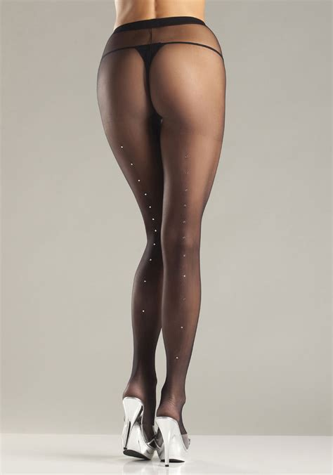 sheer tights bewicked 637q sheer with rhinestone back seam