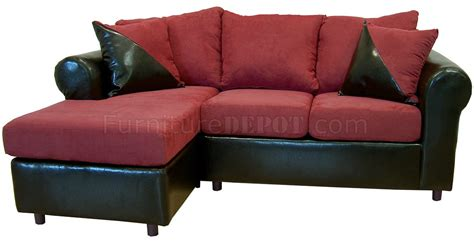 Burgundy Couches by Burgundy Fabric Black Bicast Sectional Sofa