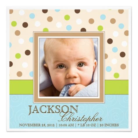 baby boy birth two photos in blue green dots announcement