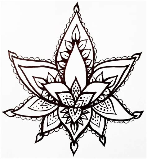 henna tattoo sketches lotus flower temporary henna style