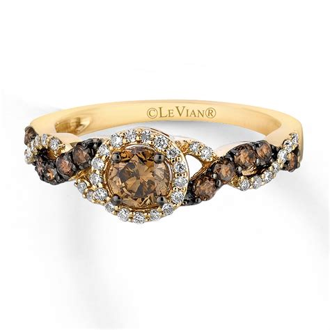 levian chocolate diamonds 3 4 ct tw ring 14k honey gold
