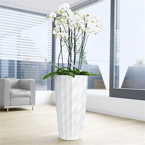 modern indoor planters round lechuza diamante self watering indoor planter