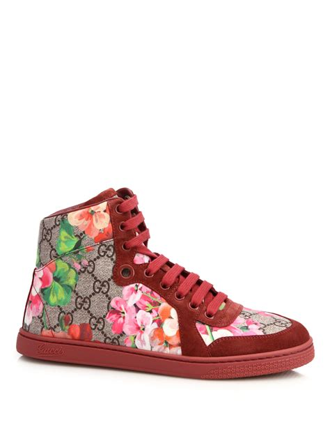 Sepatu Gucci Sneakers Shoes Floral Original lyst gucci marine floral print canvas suede sneakers for