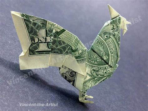 Single Dollar Bill Origami - dollar bill origami rooster dollar bill