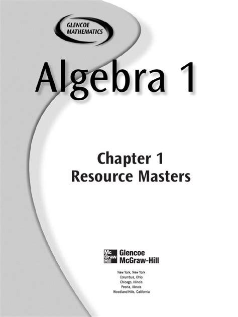 glenco algebra 1 chapter 1 algebra equations