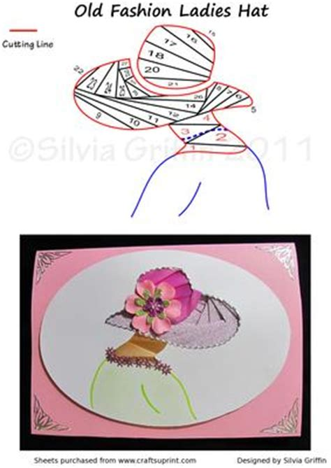 card hats templates fashion iris folding patterns card