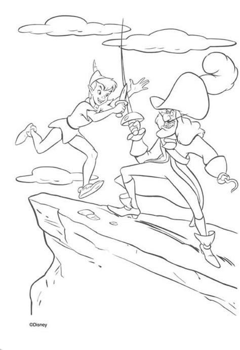 Captain Hook And Peter Pan Coloring Pages Hellokids Com Captain Hook Coloring Pages